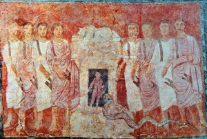 Hiel the Bethelite hidden inside the altar of Baal from the 3rd Century synagogue at Dura Europos, Syria.