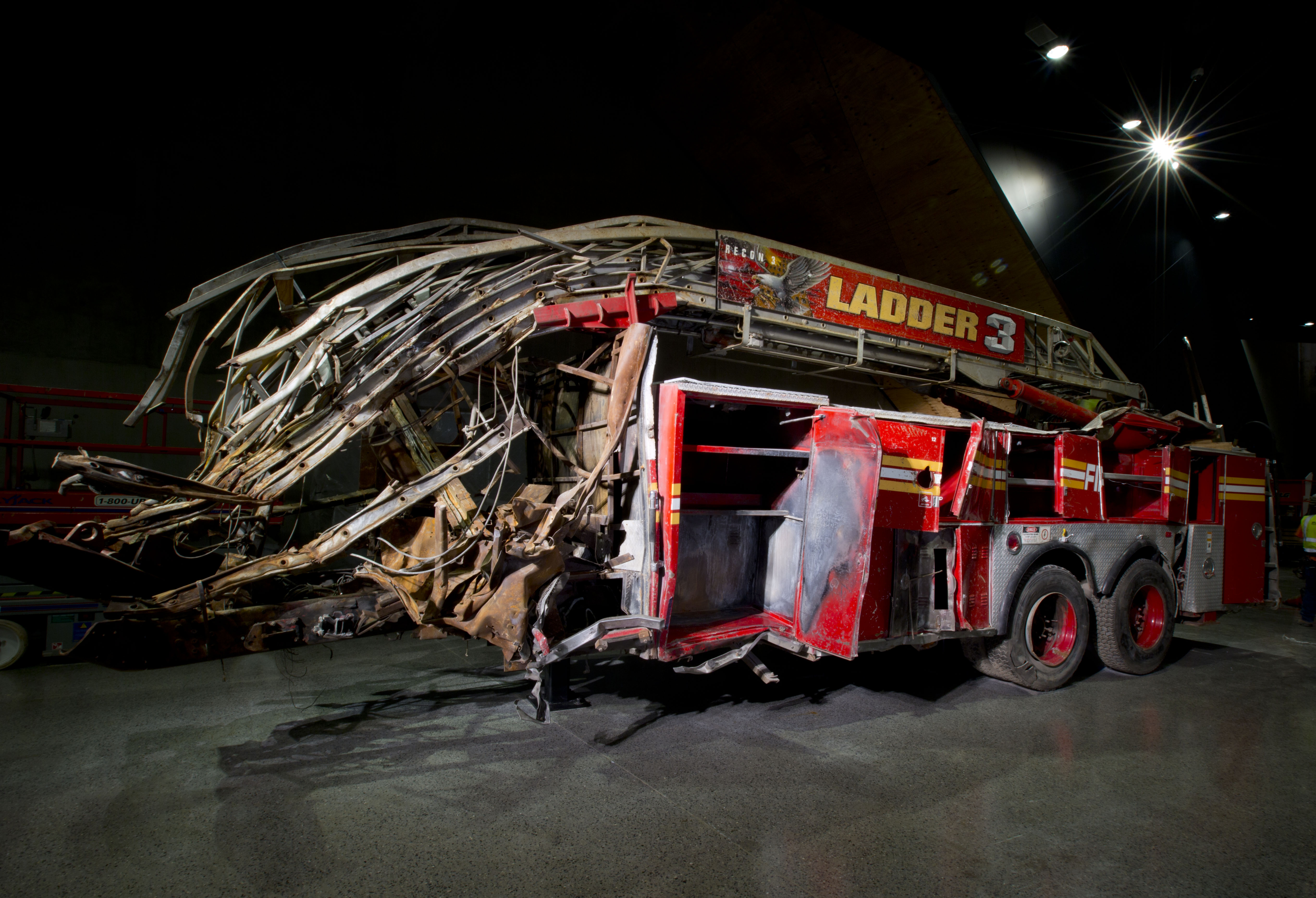 Ladder 3 of the Fire Department of New York was shredded on 9/11 when the World Trade Center collapsed. - Photo Courtesy of 9/11 Memorial & Museum