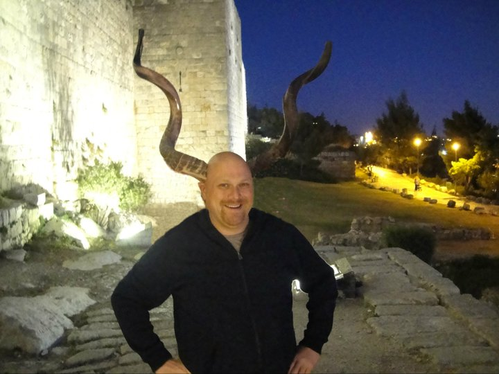 Showing off my Jew-horns outside the Old City of Jerusalem (with a little help from Photoshop).